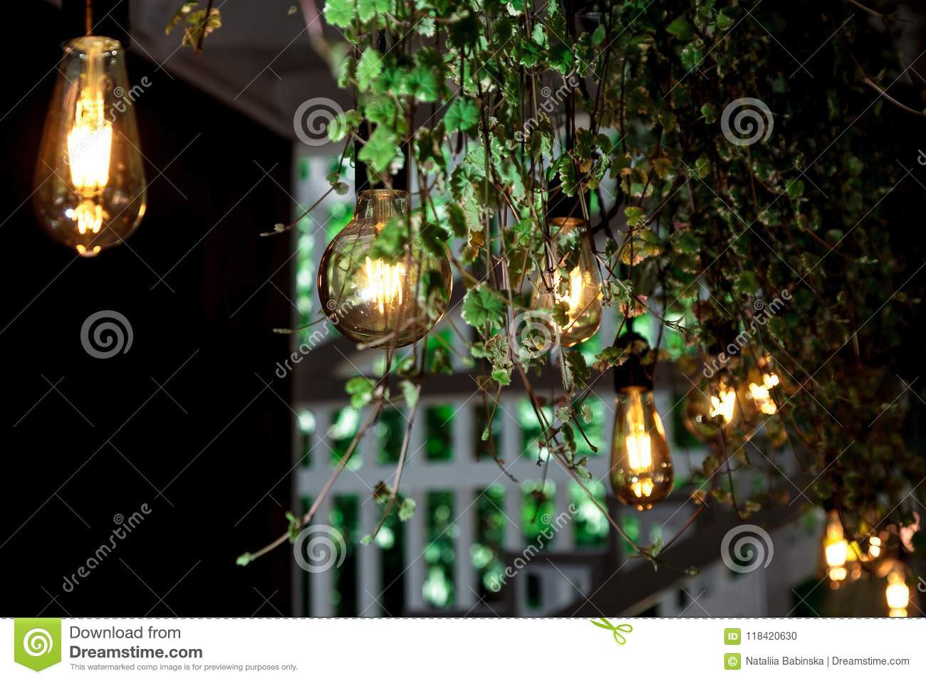 Light Bulb Leaves Cafe Interior Retro Garland Colored Black ...
