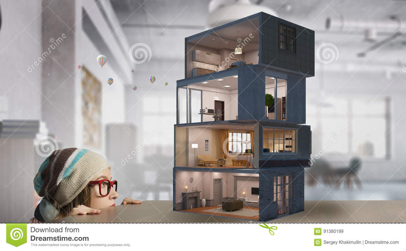 Download Design Of Your Dream House . Mixed Media Stock Image   Image Of  Woman,
