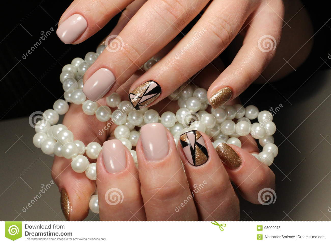 Design Of Youth Manicure With Pearls Stock Image Image Of Manicure