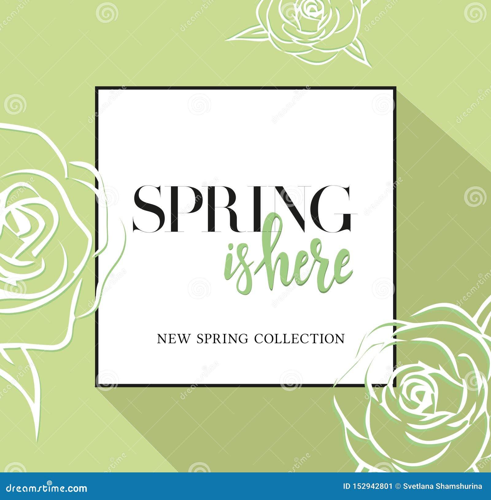 Designbanret med att märka våren är här logoen Greenc ard för vårsäsong med den svarta ramen och rosen Befordranerbjudande med