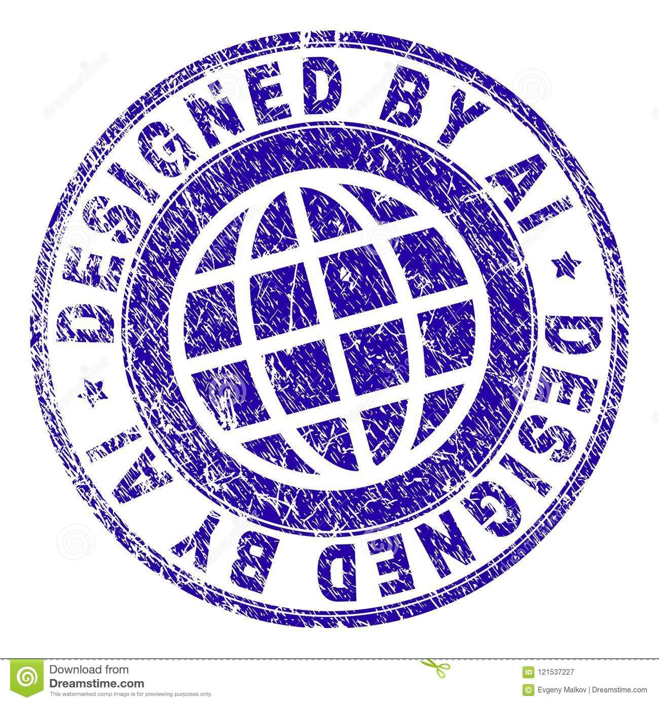 Scratched Textured DESIGNED BY AI Stamp Seal Stock Illustration