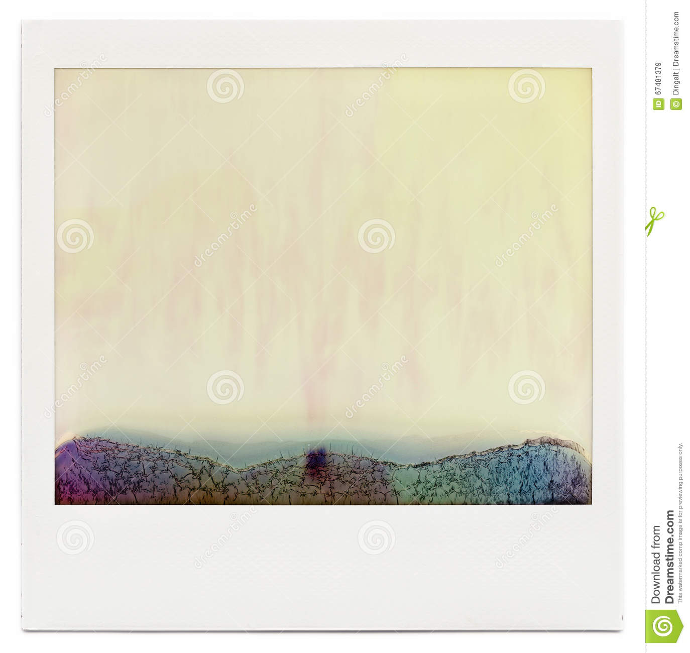 designed blank instant film frame with abstract filling isolated on white