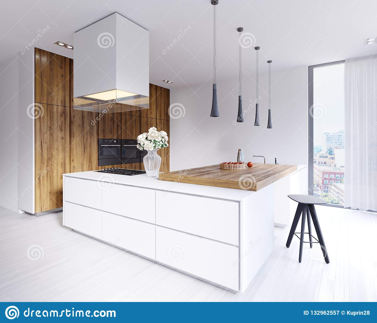 Designed Corner White Kitchen In The Scandinavian Style. With ...