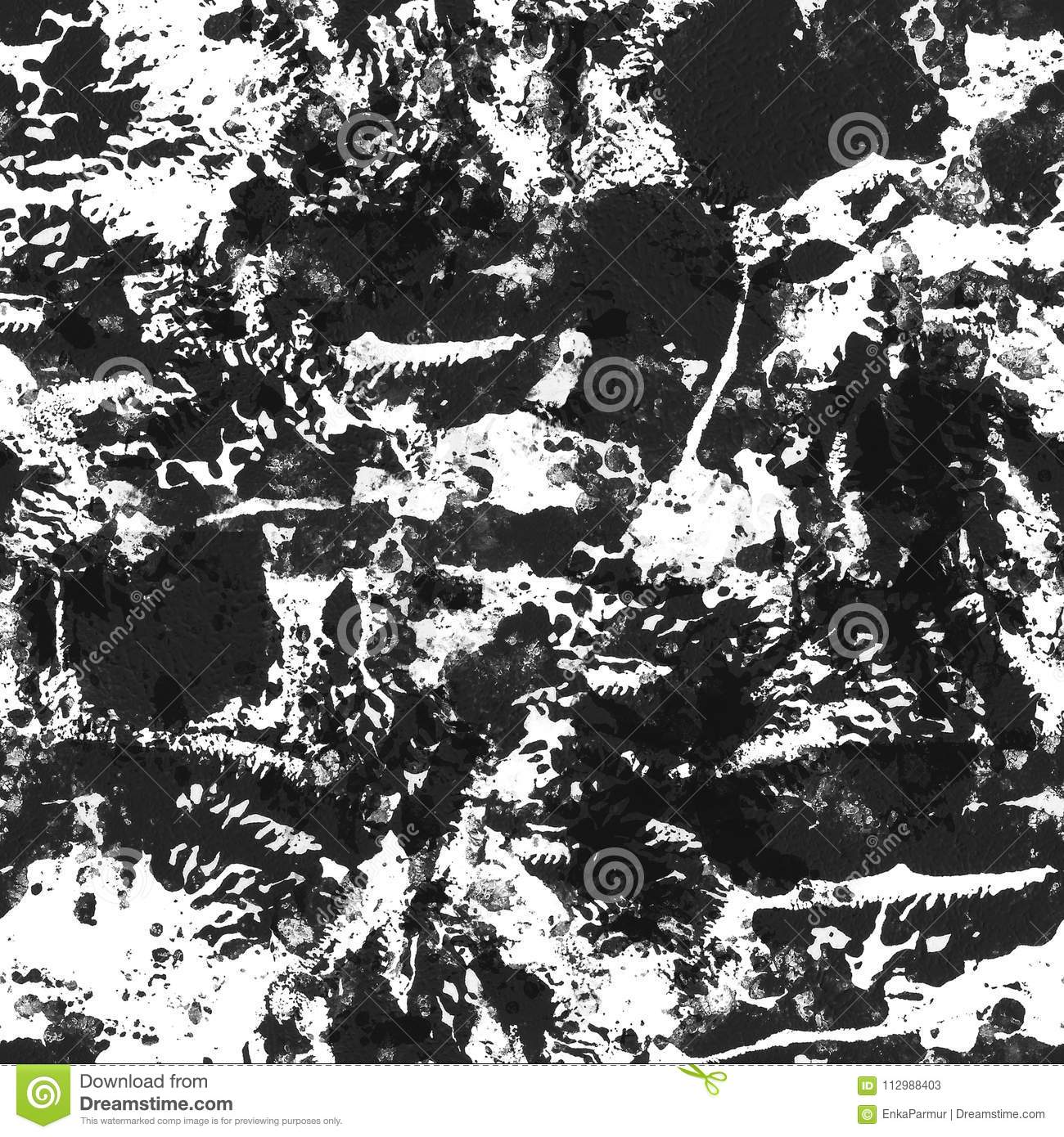 Designed grunge texture, made with acrylic paints. Black and white seamless pattern. Shabby stained aged surface.