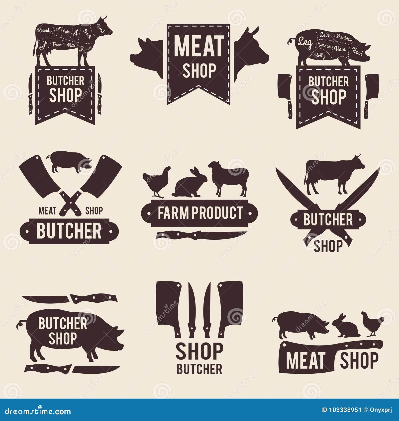 Designen av den monokromma etikettuppsättningen för slaktare shoppar med illustrationer av tamdjur och kökhjälpmedel