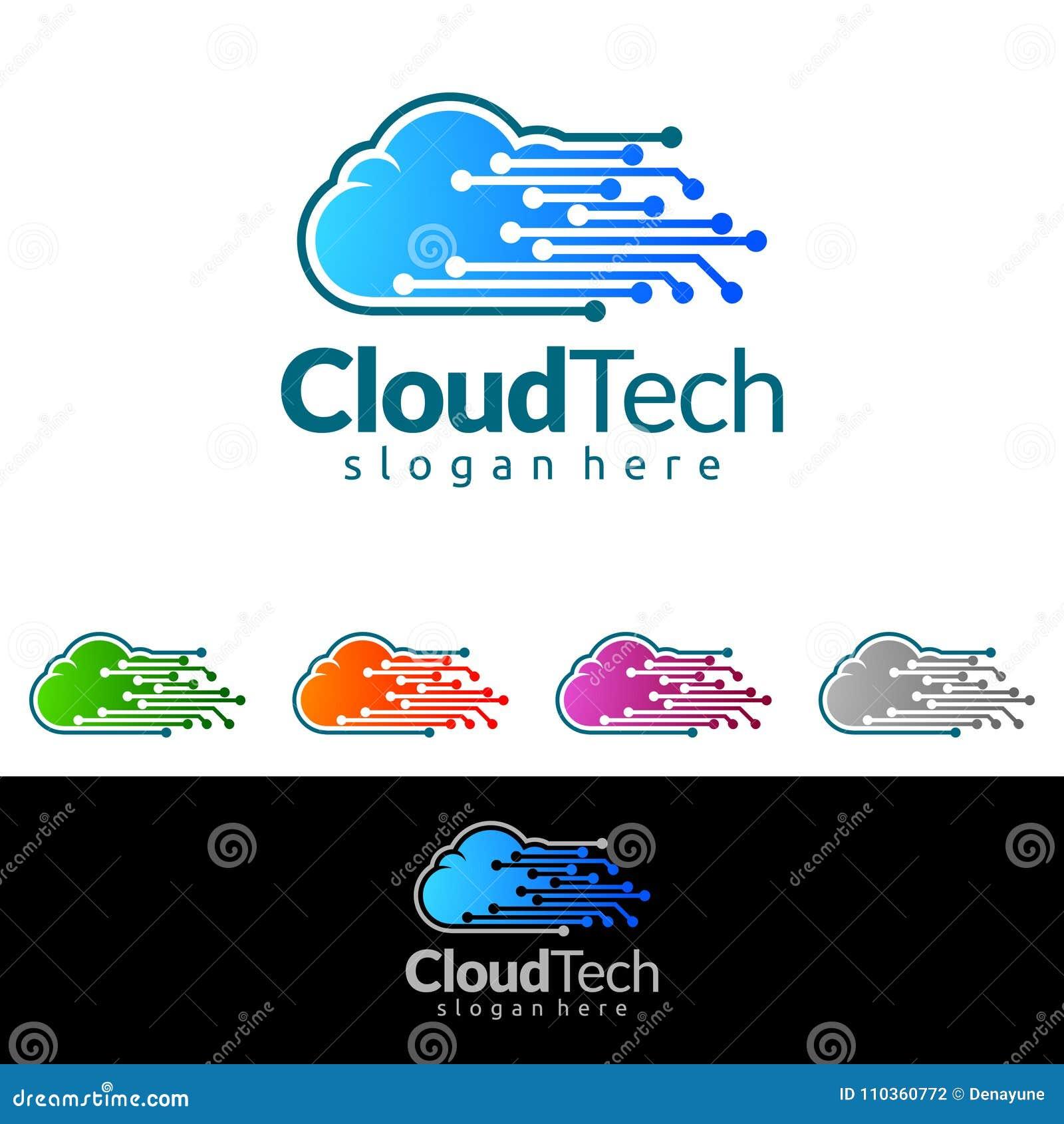 Designen för logoen för den molnhem-, Real Estate vektorn med huset och molnet formar, den föreställt internet, data eller vara v