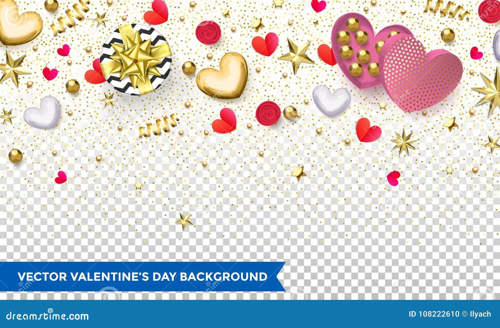 Designen för valentindagbakgrund av hjärtor och guld blänker konfetti- eller blommamodellen för ferie Vektorvalentinaffisch av gl