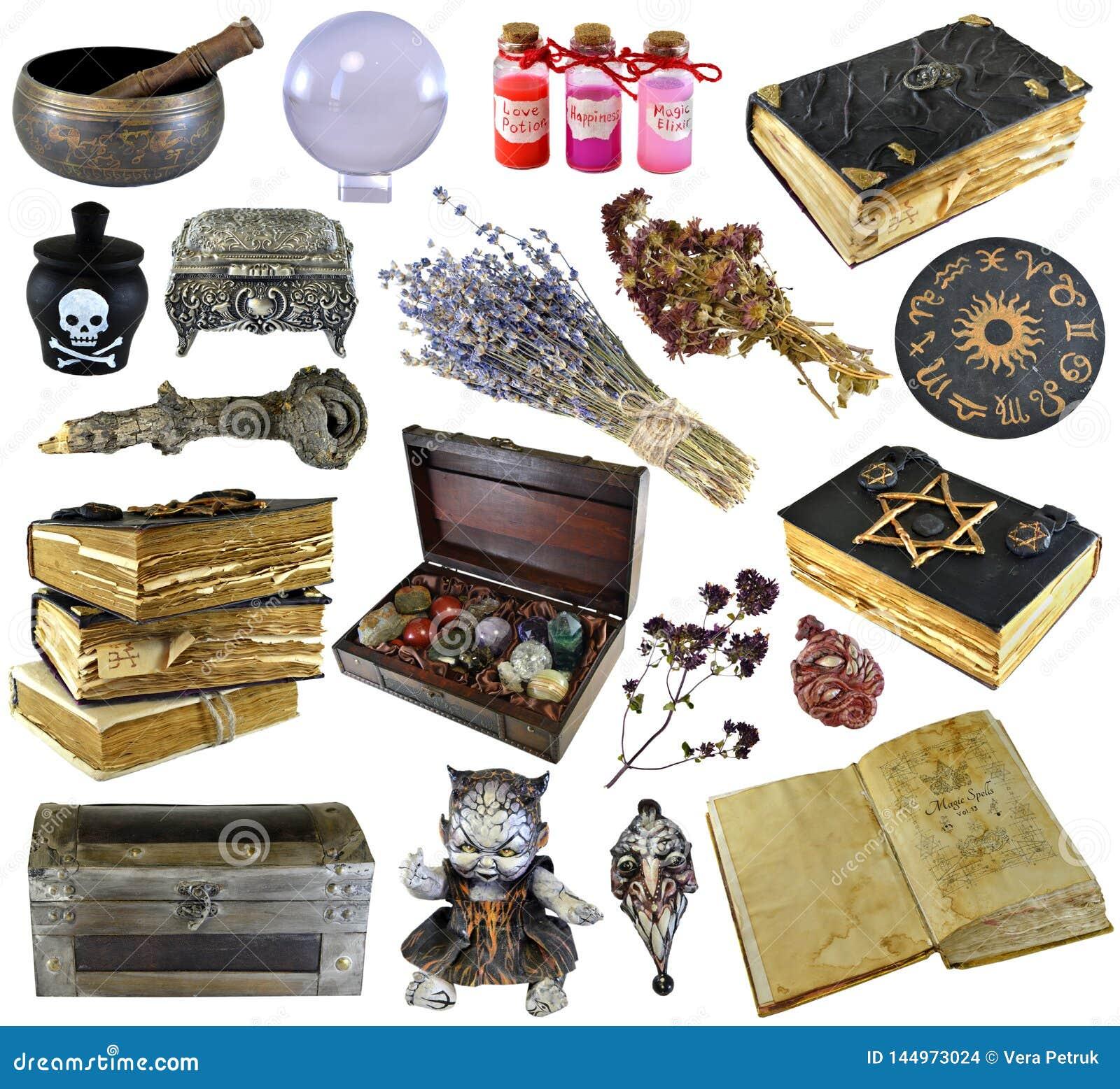 Designen ställde in med gamla böcker, det forntida manuskriptet, häxaörter, dryck som isolerades på vit