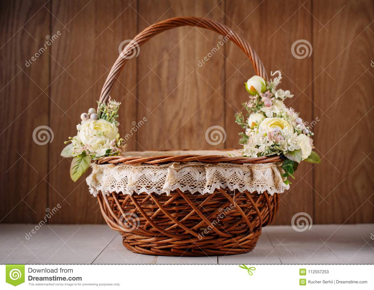 Designer Basket Is Decorated With Flowers. Wicker Basket For ...