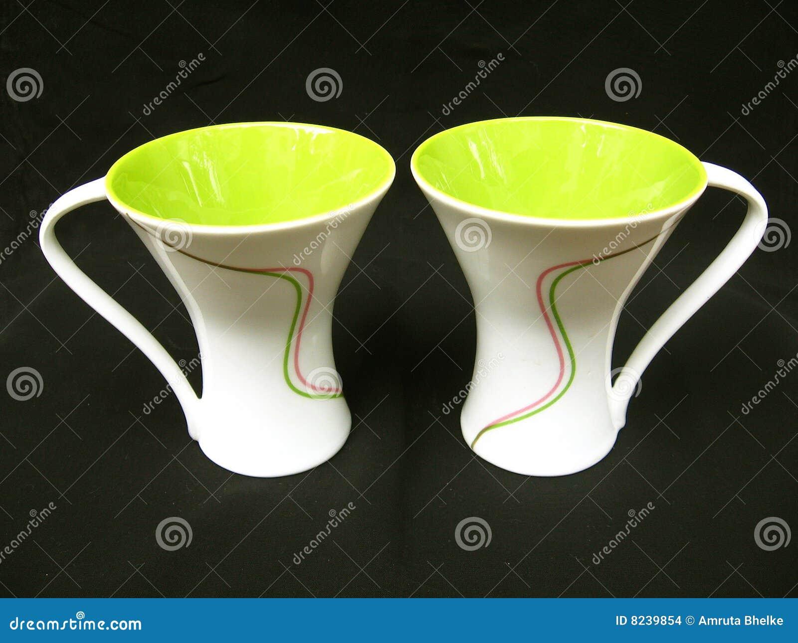 designer coffee mugs stock images  image  - coffee colored designer green mugs
