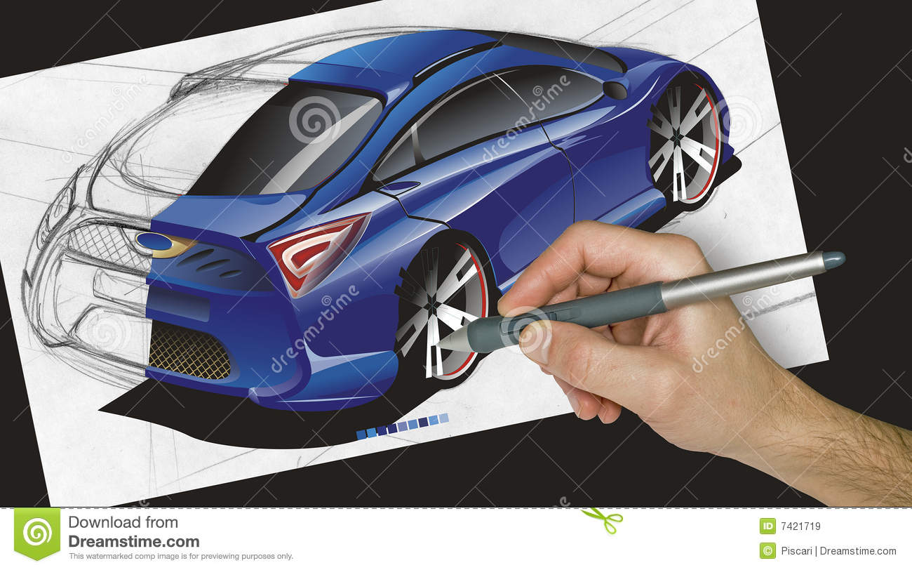Designer Drawing A Car Stock Image Image Of Wacom Sketch 7421719