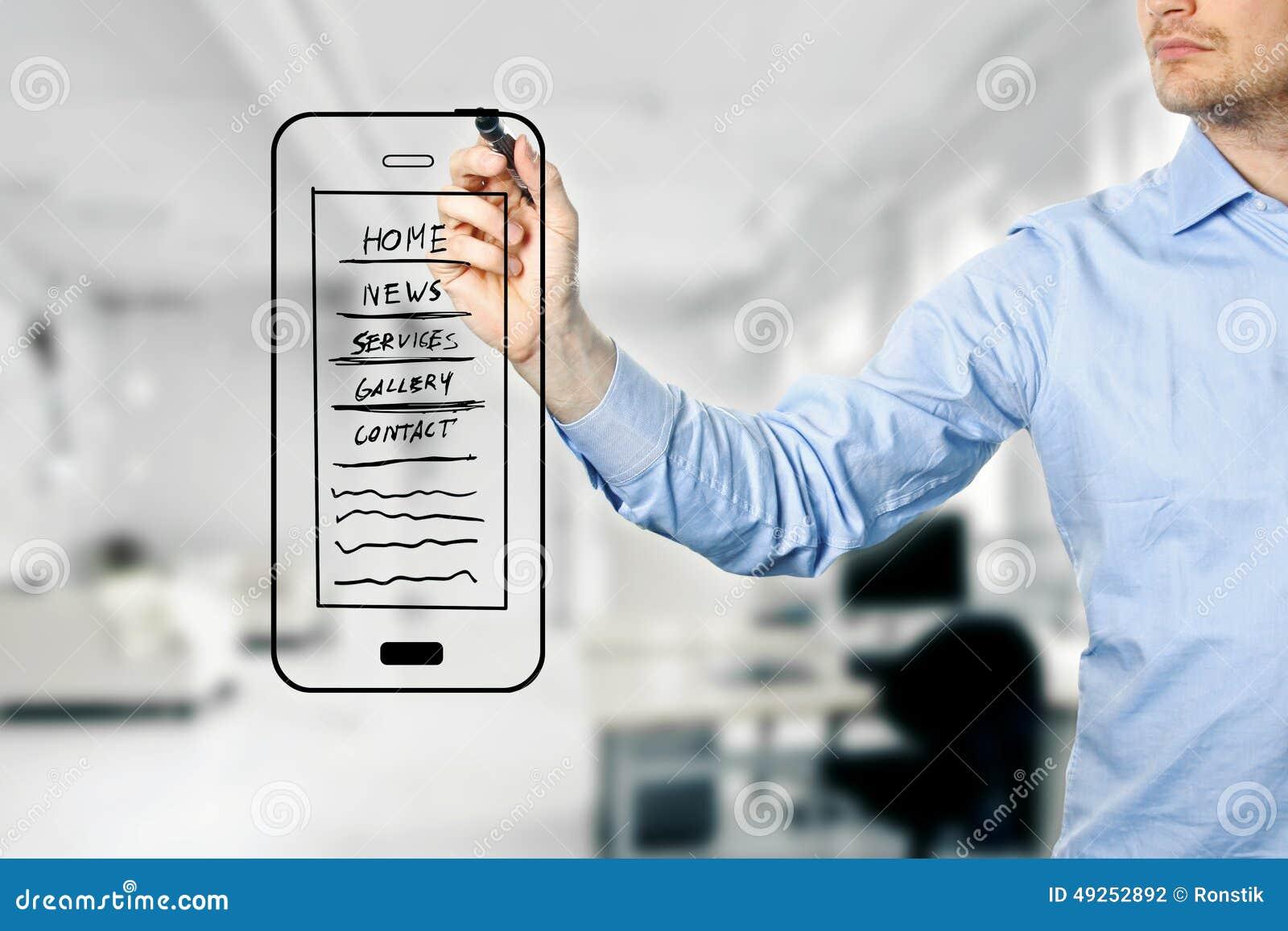 Mobile Website Development : Designer drawing mobile website development wireframe