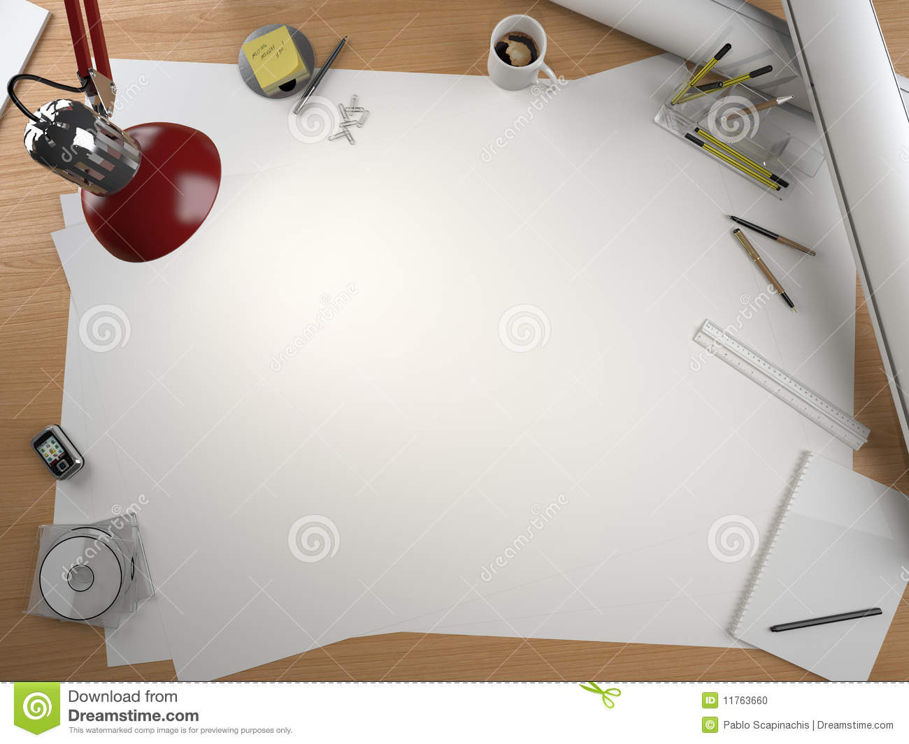 Designer drawing table with lots of elements and a centered copy space