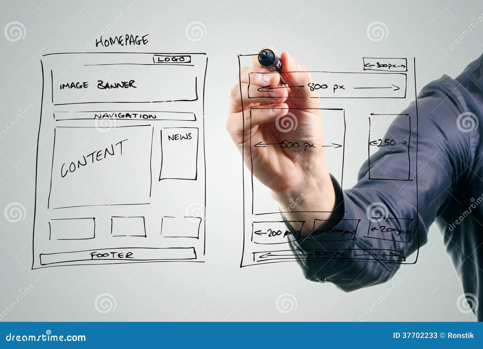 Designer Drawing Website Development Wireframe Stock Image Image