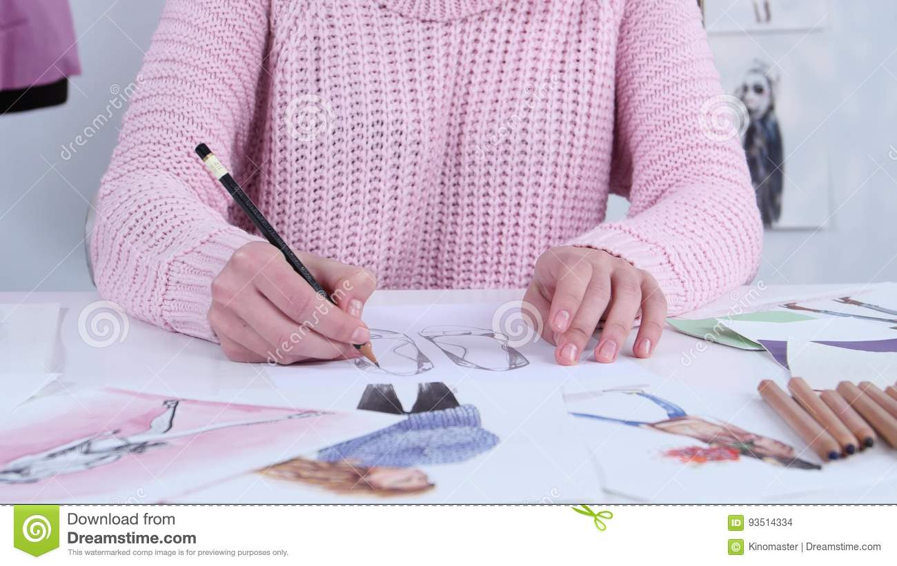 Designer Dress Hands Create Beautiful Drawings With Pencils For The Clothing Magazine Close Up Stock Footage Video Of Craft Drawings 93514334