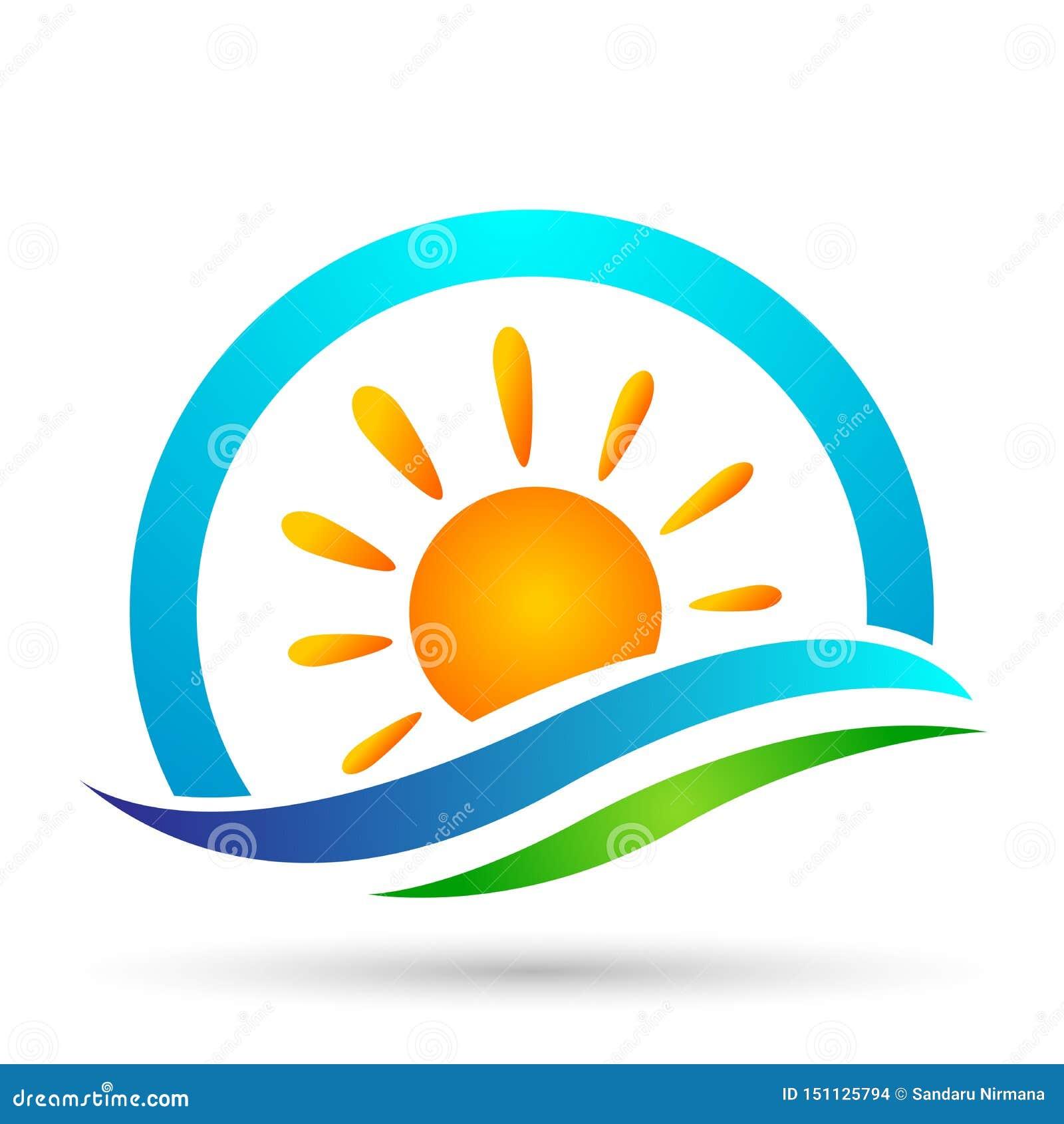 Designer för vektor för strand för sommar för ferie för turism för symbol för kust för symbol för våg för vatten för våg för hav