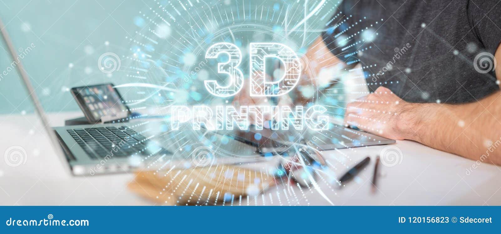 Designer gráfico que usa 3D que imprime a rendição digital do holograma 3D
