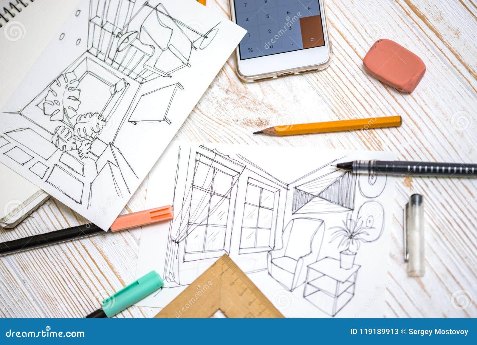 Designer Macht Eine Skizze Vom Innenraum Stockbild Bild
