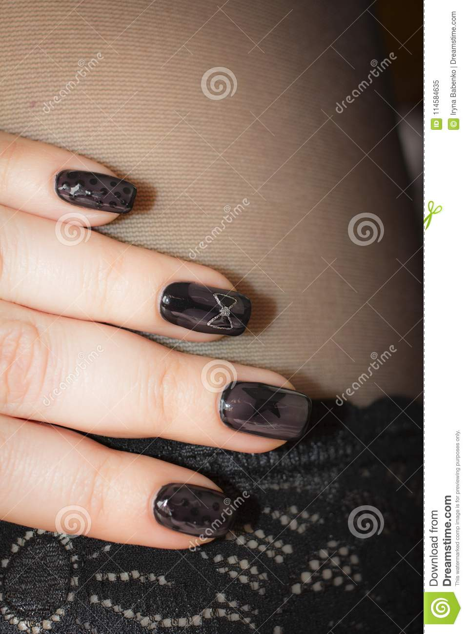 Designer Nails In The Tone Of Stockings Stock Image - Image of ...
