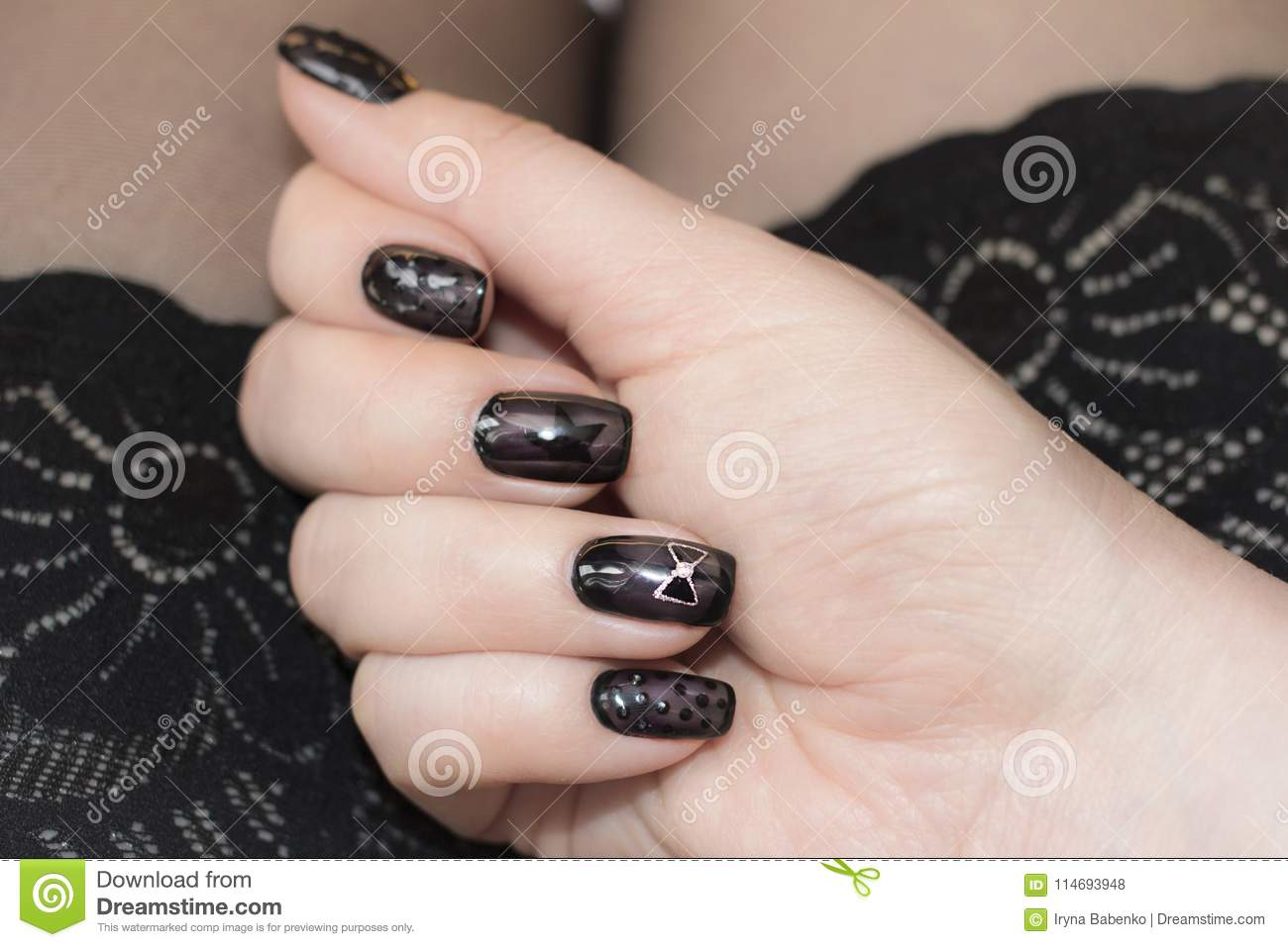 Designer Nails In Tone Stockings Stock Photo Image Of Care