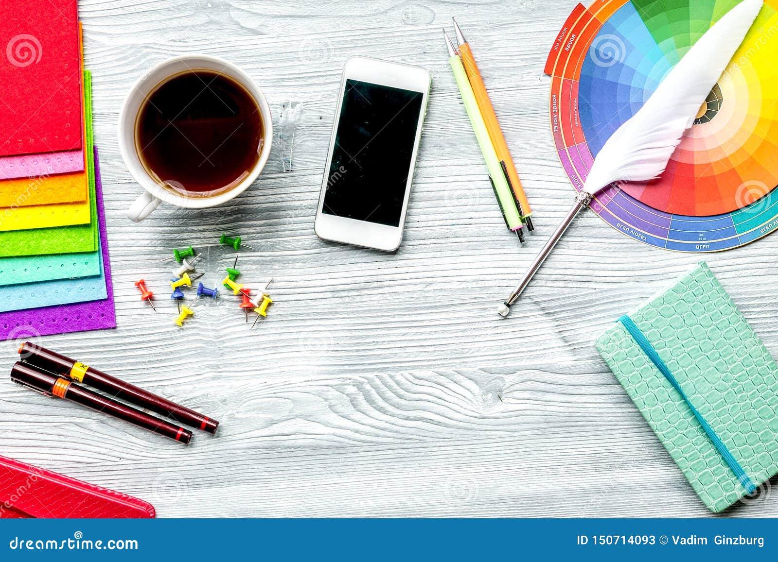 Designer office in profession concept on desk background top view mock-up