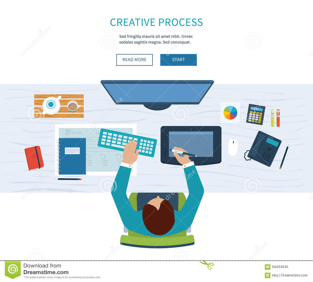 Designer Office Workspace With Tools And Devices Stock Vector ...