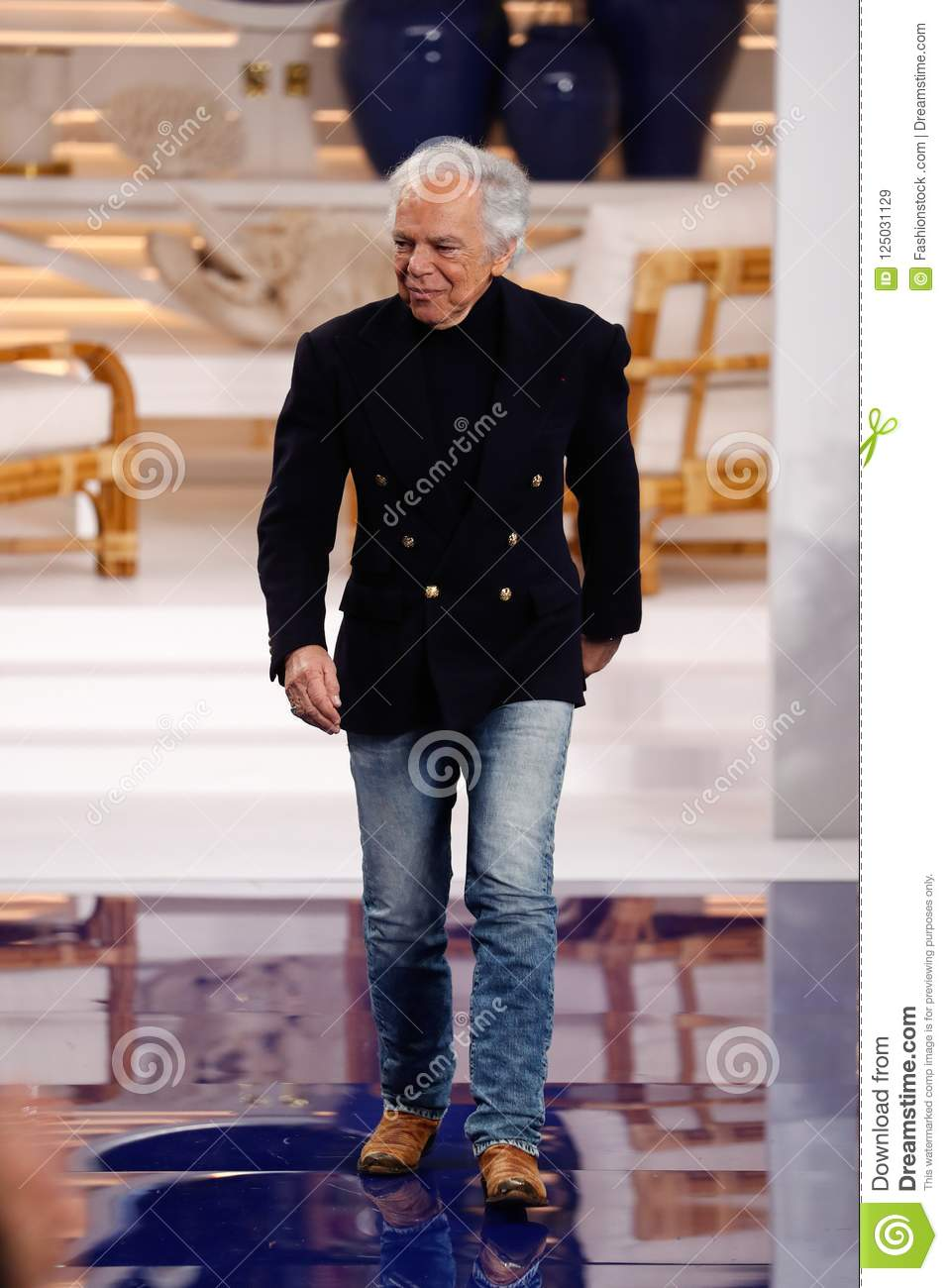Designer Ralph Lauren Walks The Runway At Ralph Lauren Spring Summer 18 Fashion Show Editorial Stock Image Image Of Lauren Womenswear 125031129