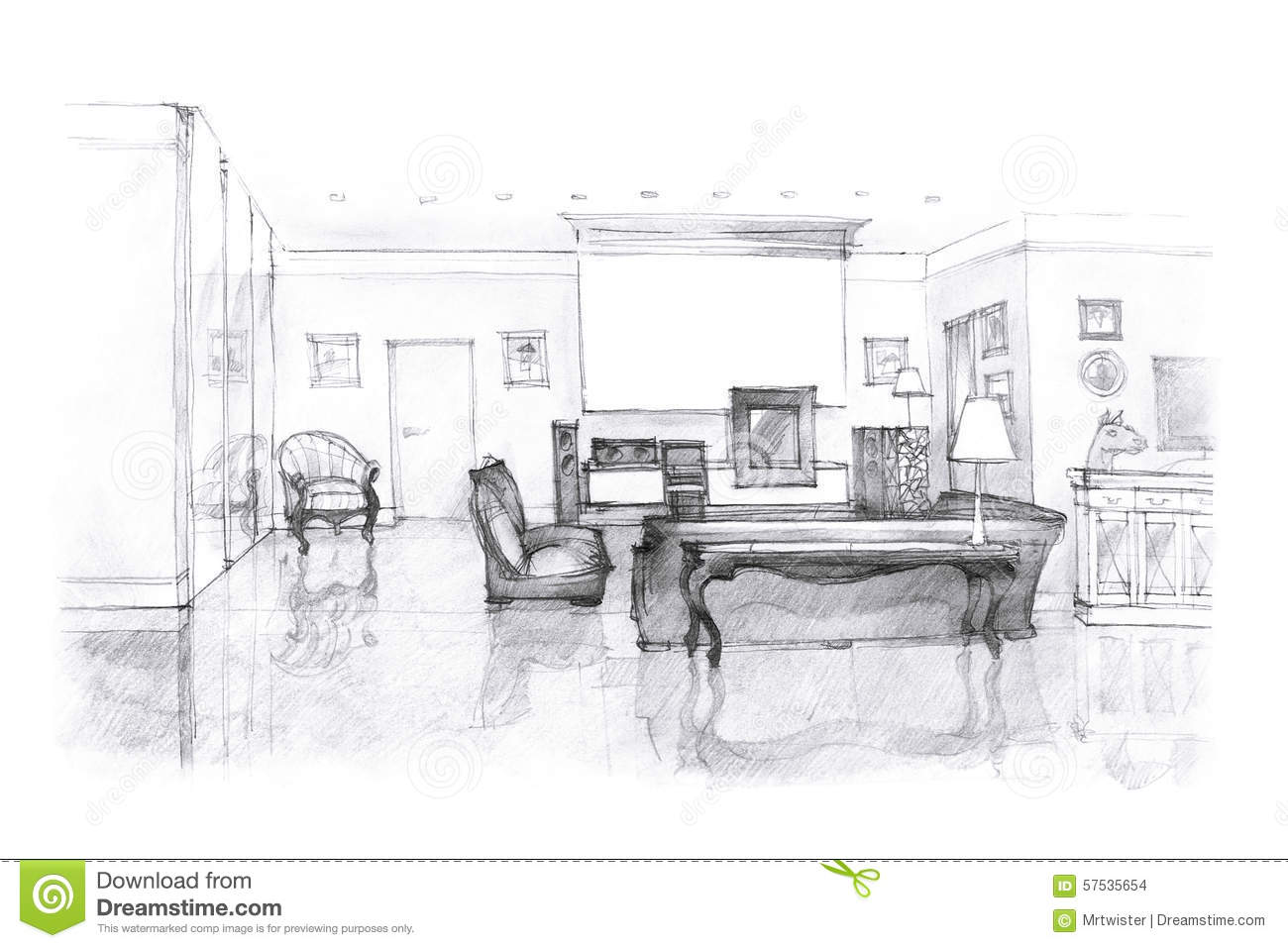 designer 39 s sketch of a living room stock illustration. Black Bedroom Furniture Sets. Home Design Ideas