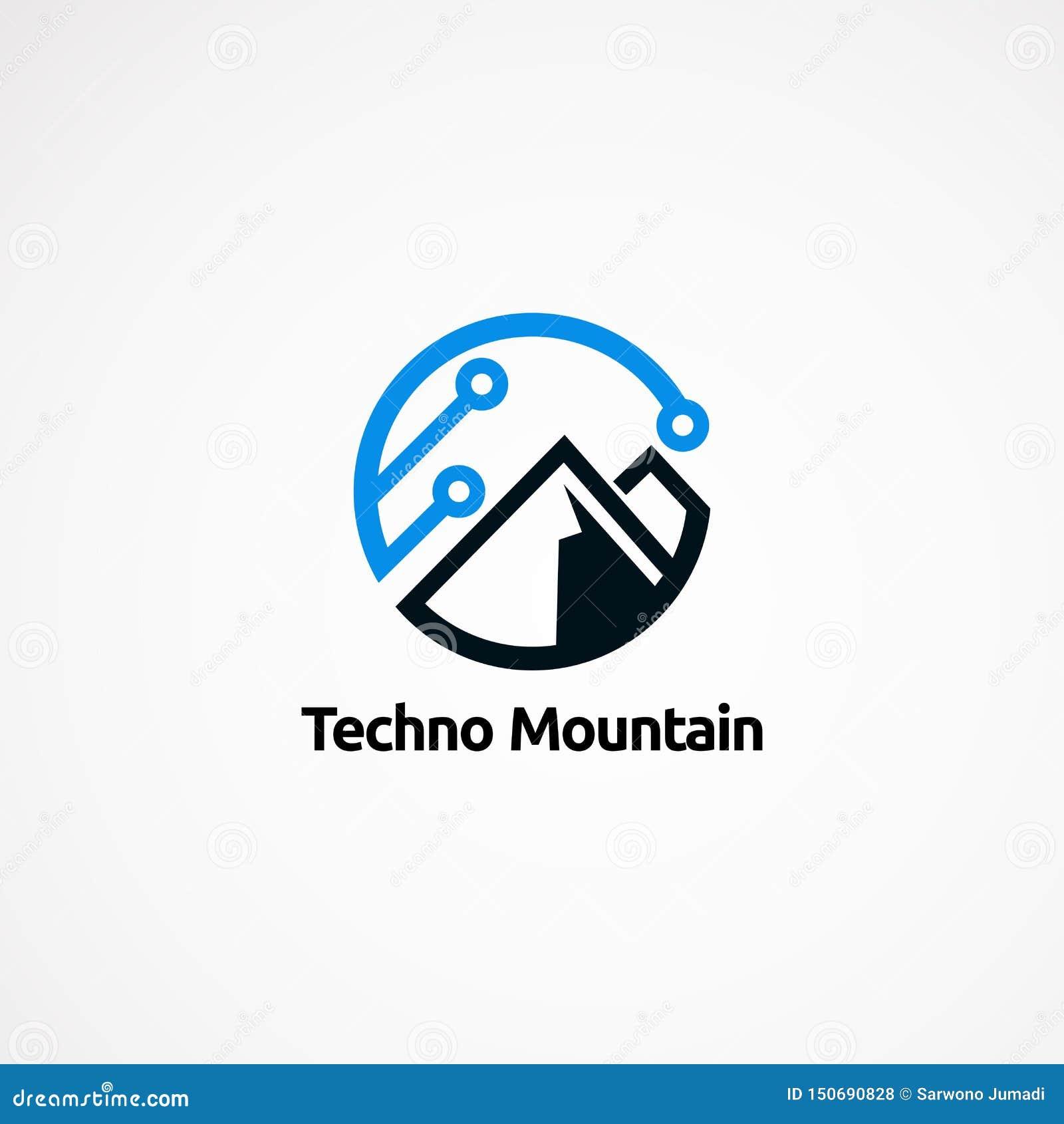 Designer, symbol, beståndsdel och mall för Techno berglogo för företag