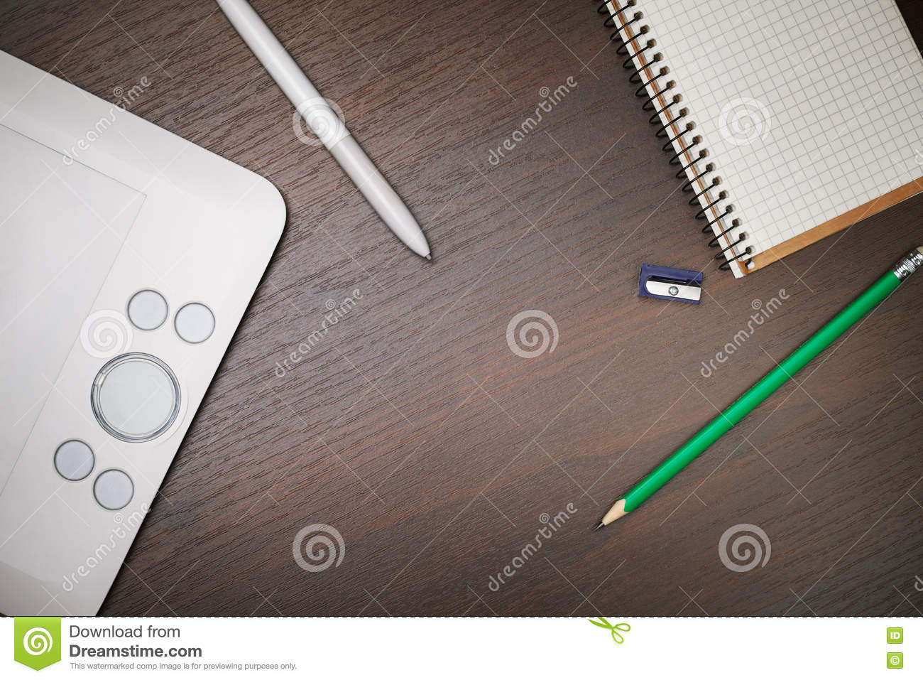 designer workspace white table on top stock photo image 73816052