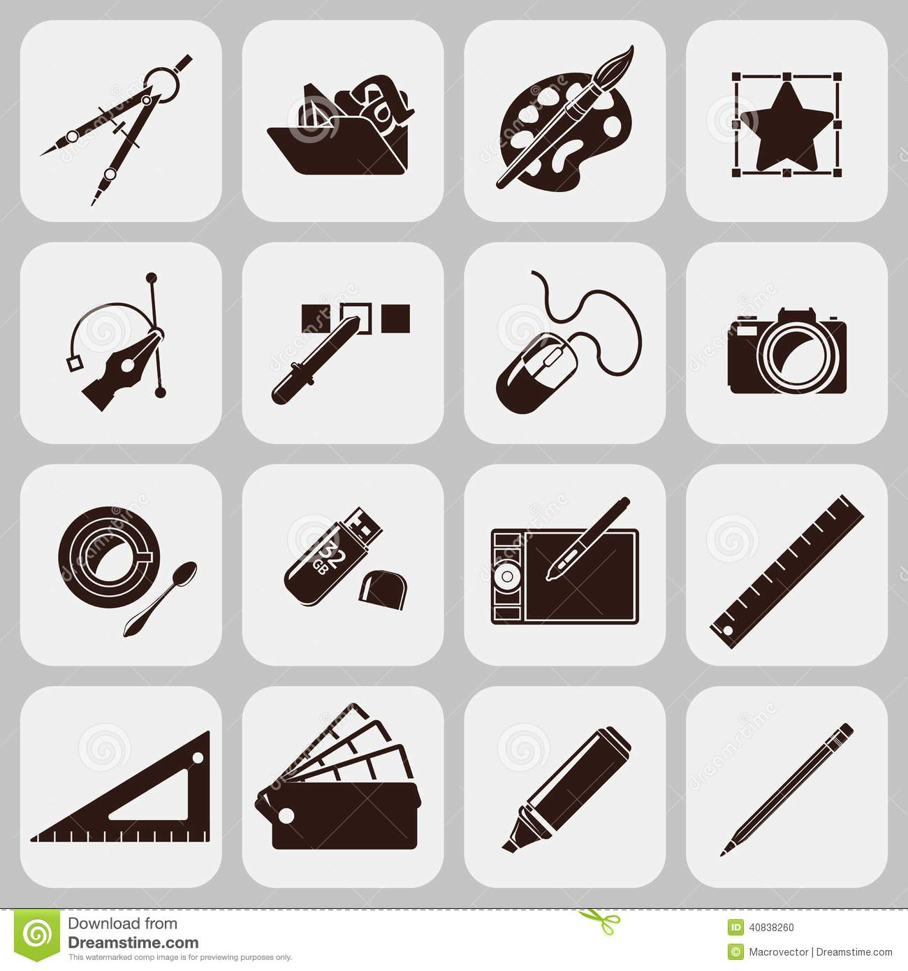 Designer tools black icons stock vector image 40838260 for Online interior decorating tool