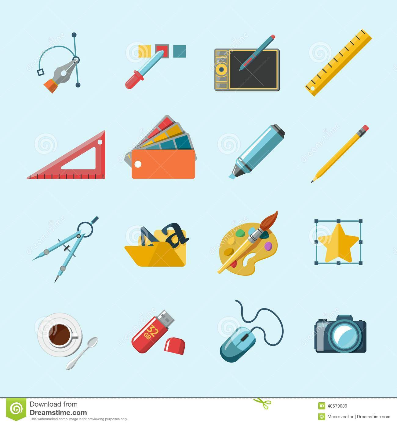 Designer Tools Icons Stock Vector Image 40679089