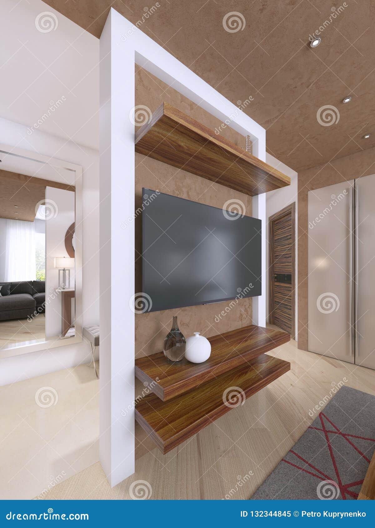 Designer Tv Unit In The Modern Living Room Stock Illustration Illustration Of Furniture Background 132344845