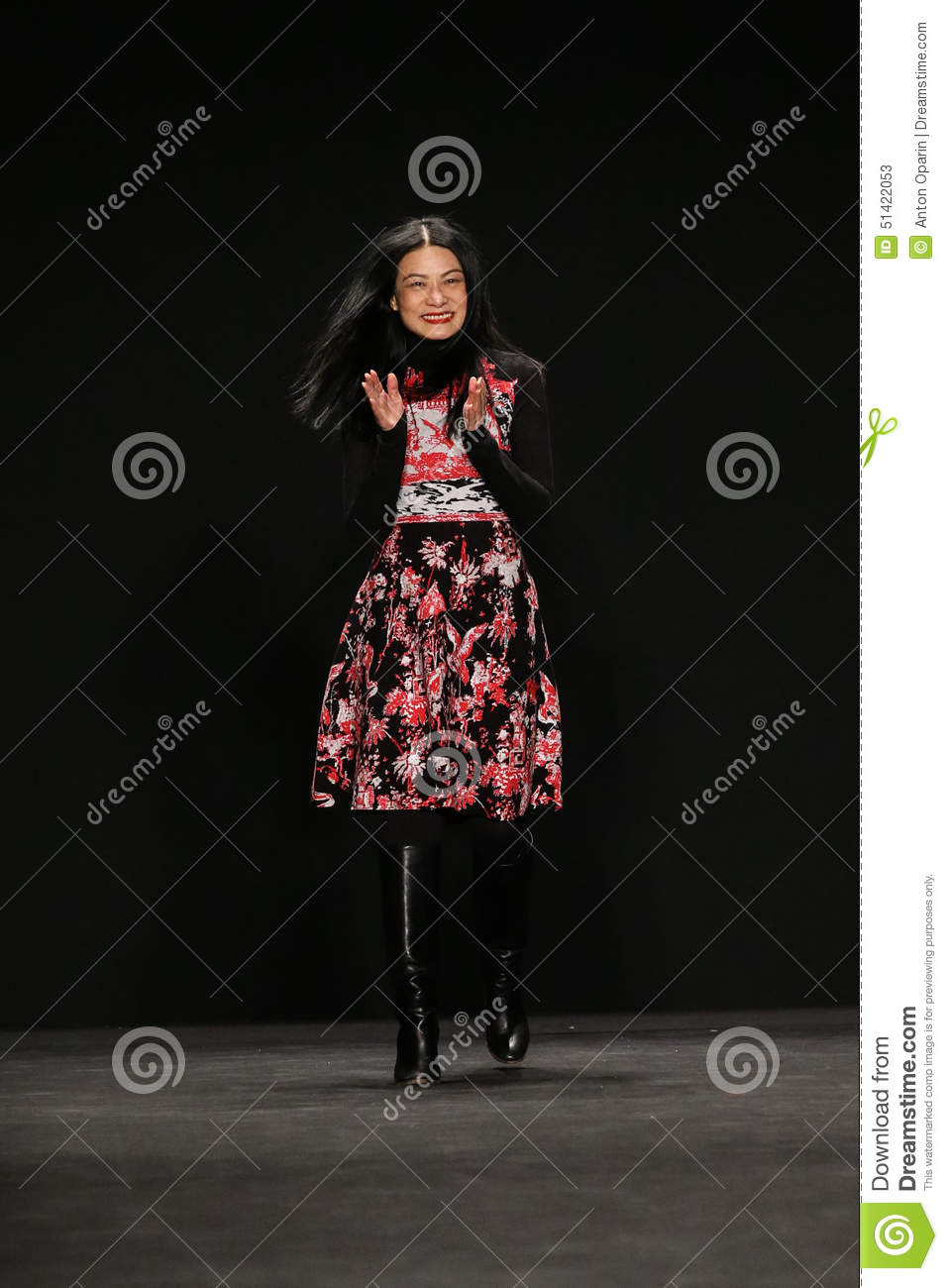Designer Vivienne Tam walks the runway at the Vivienne Tam fashion show during MBFW Fall 2015