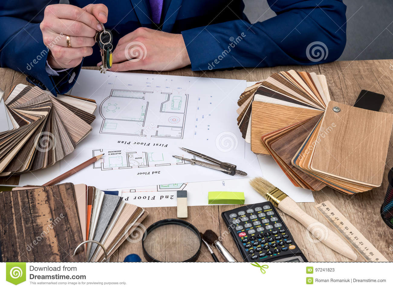 Designer Working With Architect Sketching Construction Project Stock