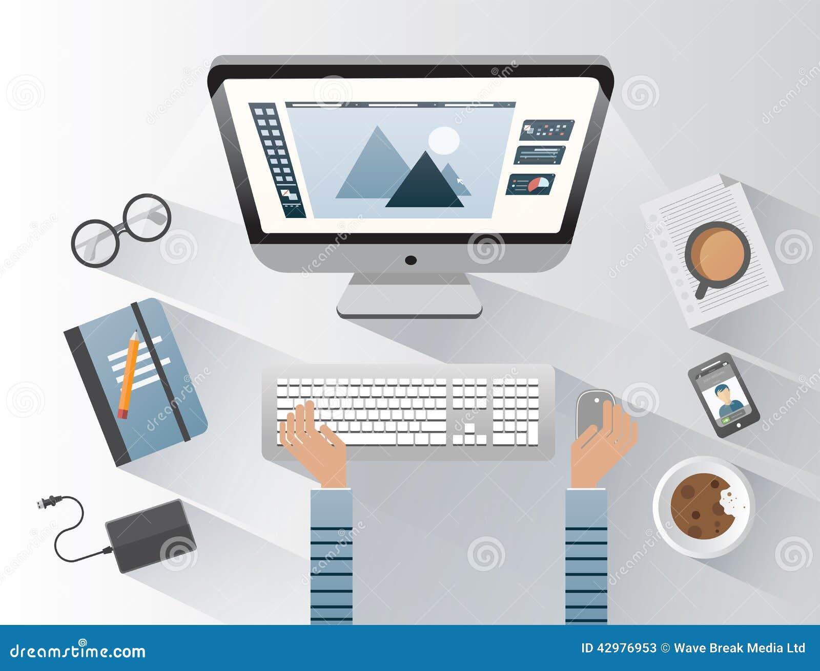 Designer Working On Computer At Desk Stock Vector Image