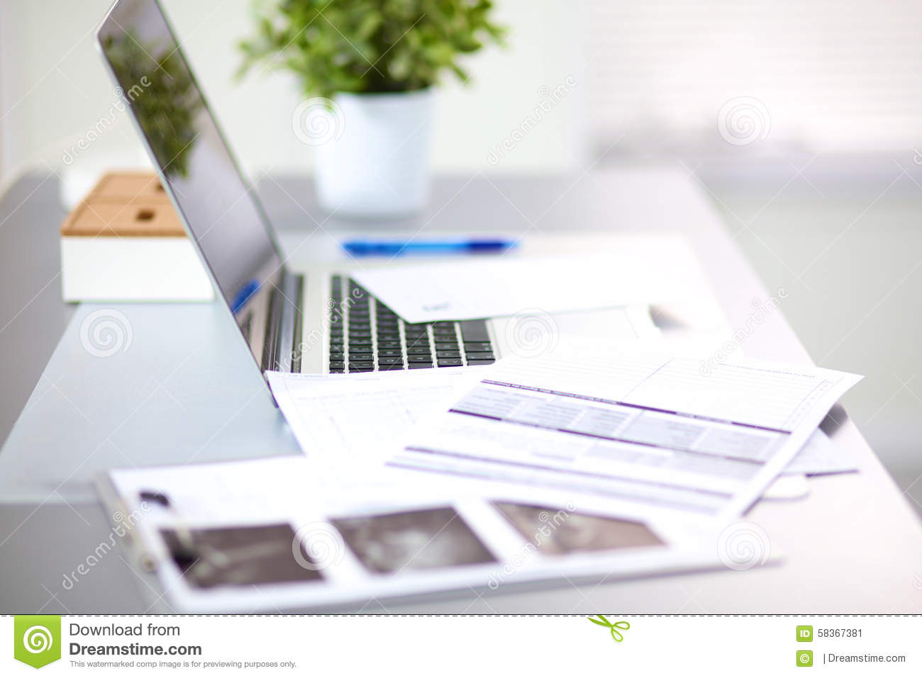 Designer Working Place At Home With Computer Stock Image - Image of ...