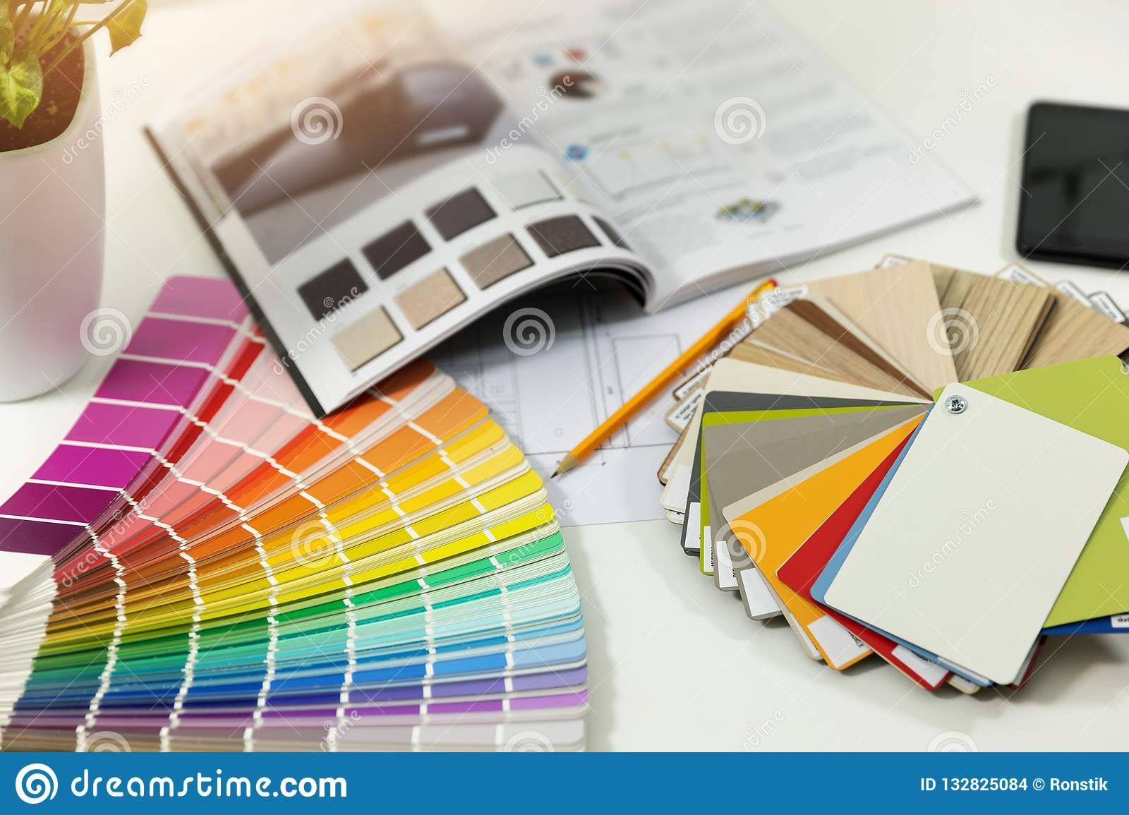 designer workplace - interior paint color and furniture samples