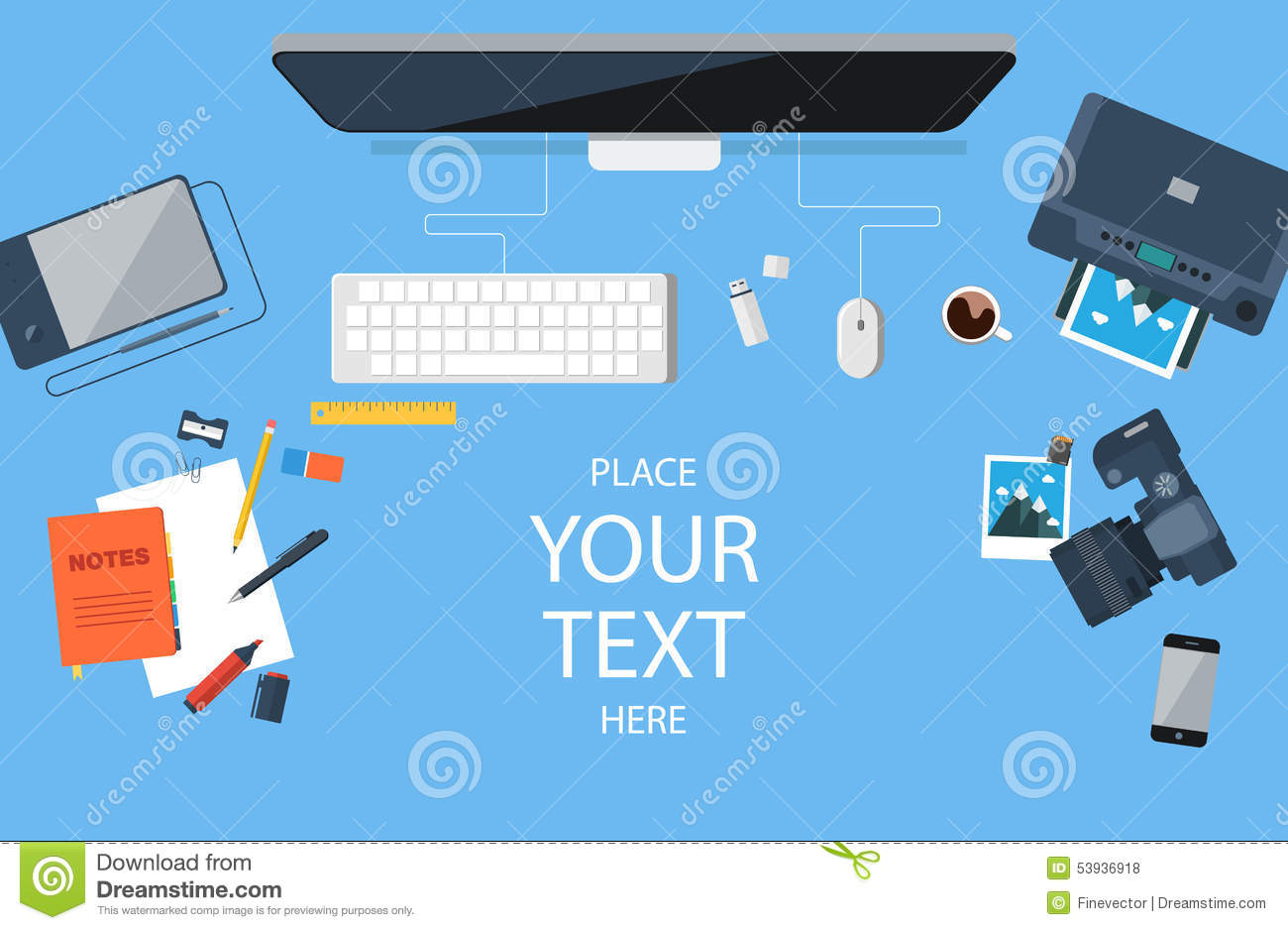Flat Designer Workplace Concept Vector Illustration