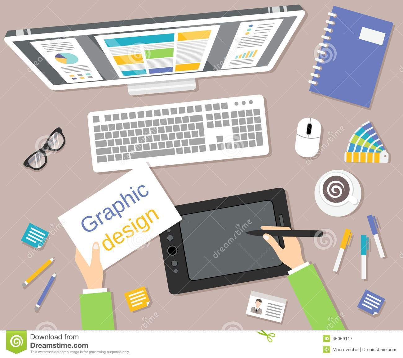 Designer workplace top view stock vector illustration of - Graphic design from home ...
