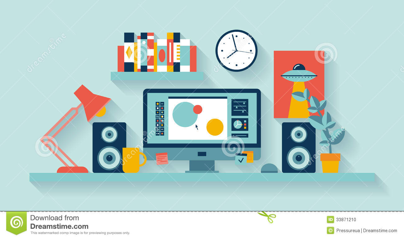 Designer workspace in the office stock vector image for Design office y z