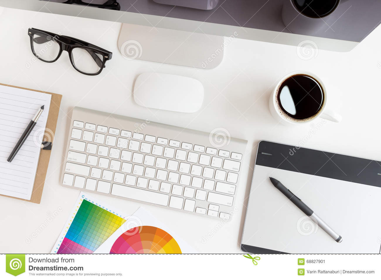 Designer Workspace On Top View Stock Photo - Image: 68827901