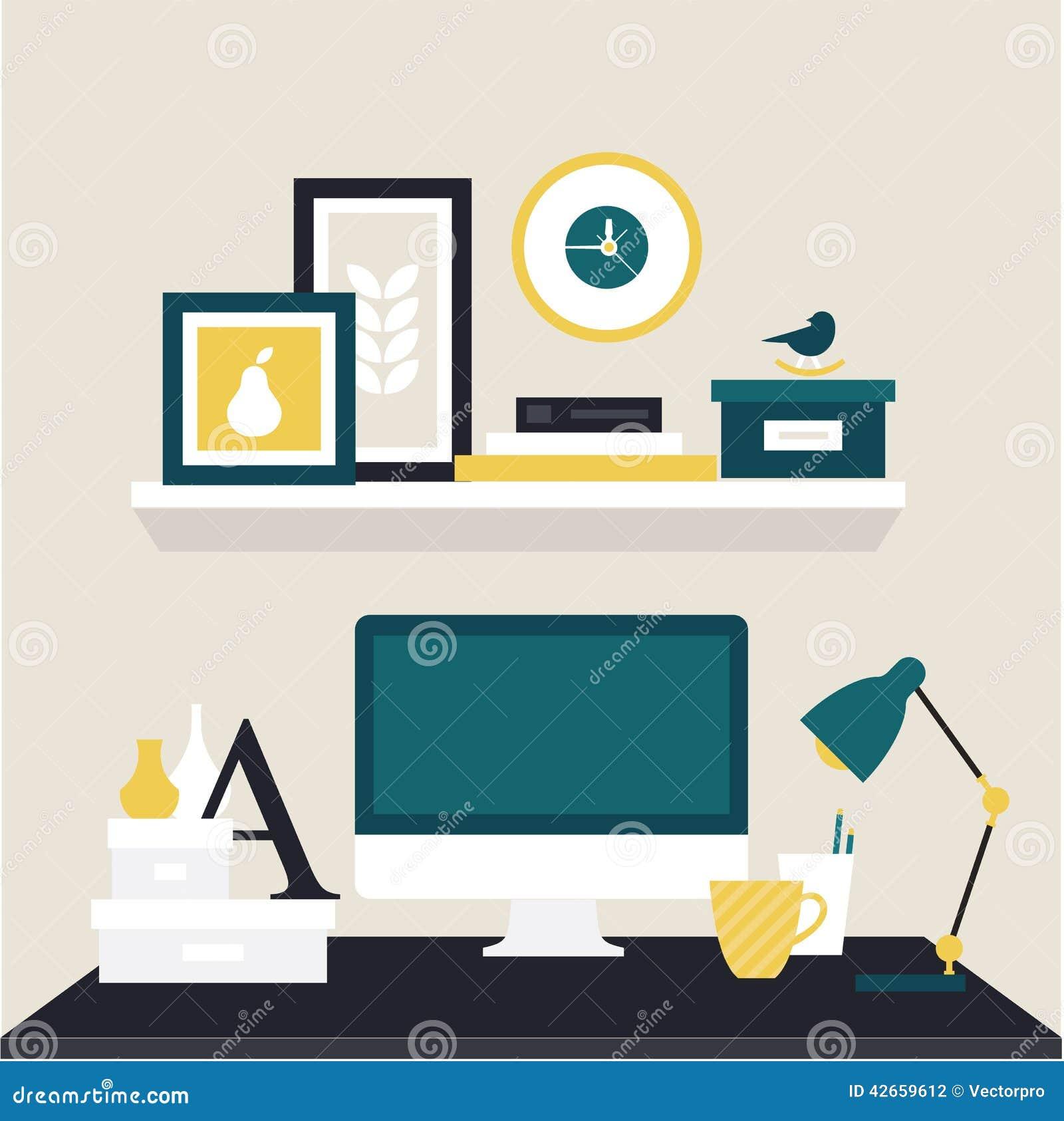 Designer Workspace Vector Illustration Icon Flat Style Stock Photography