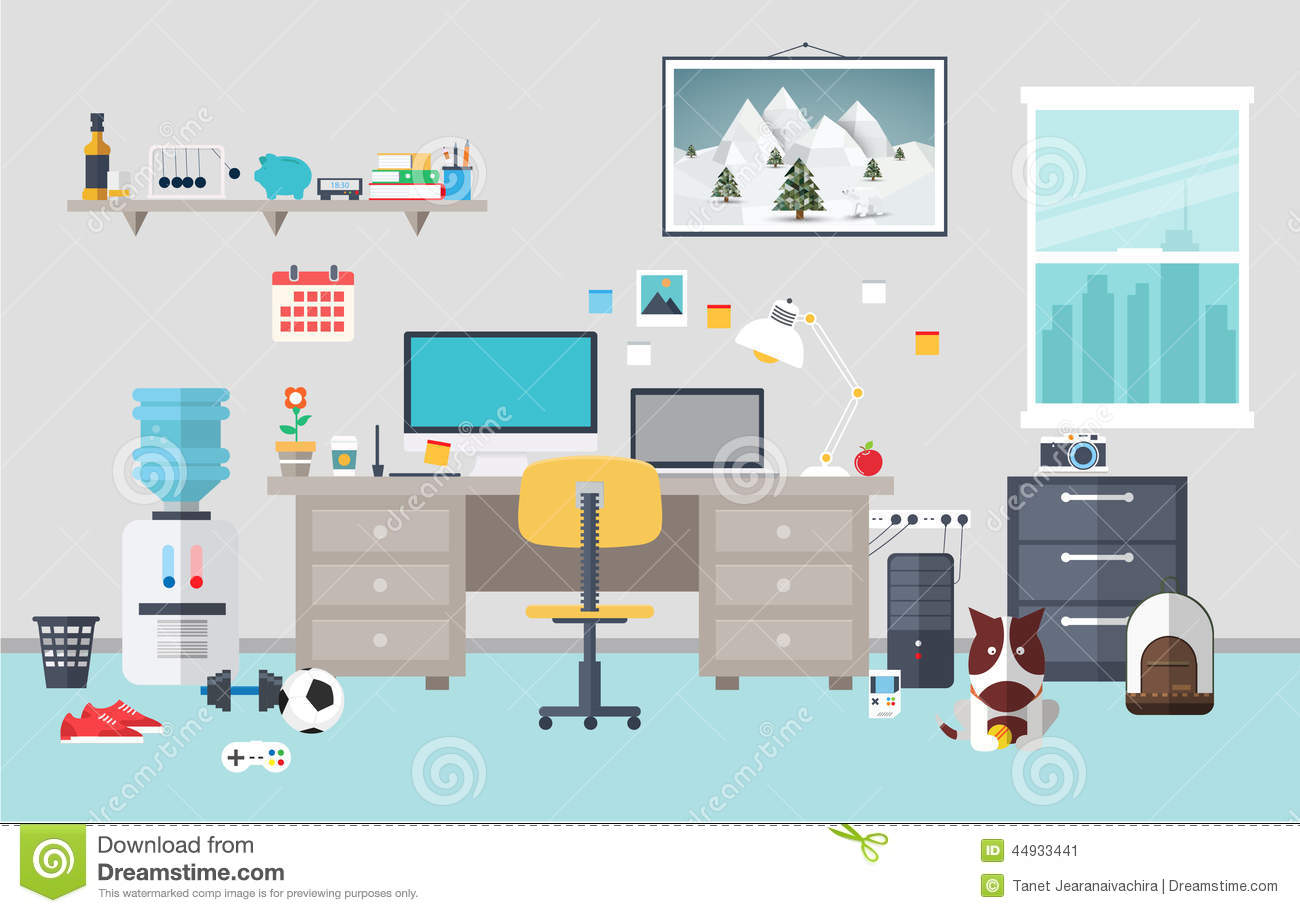 Designer Workspace In The Work Room Stock Vector Illustration of