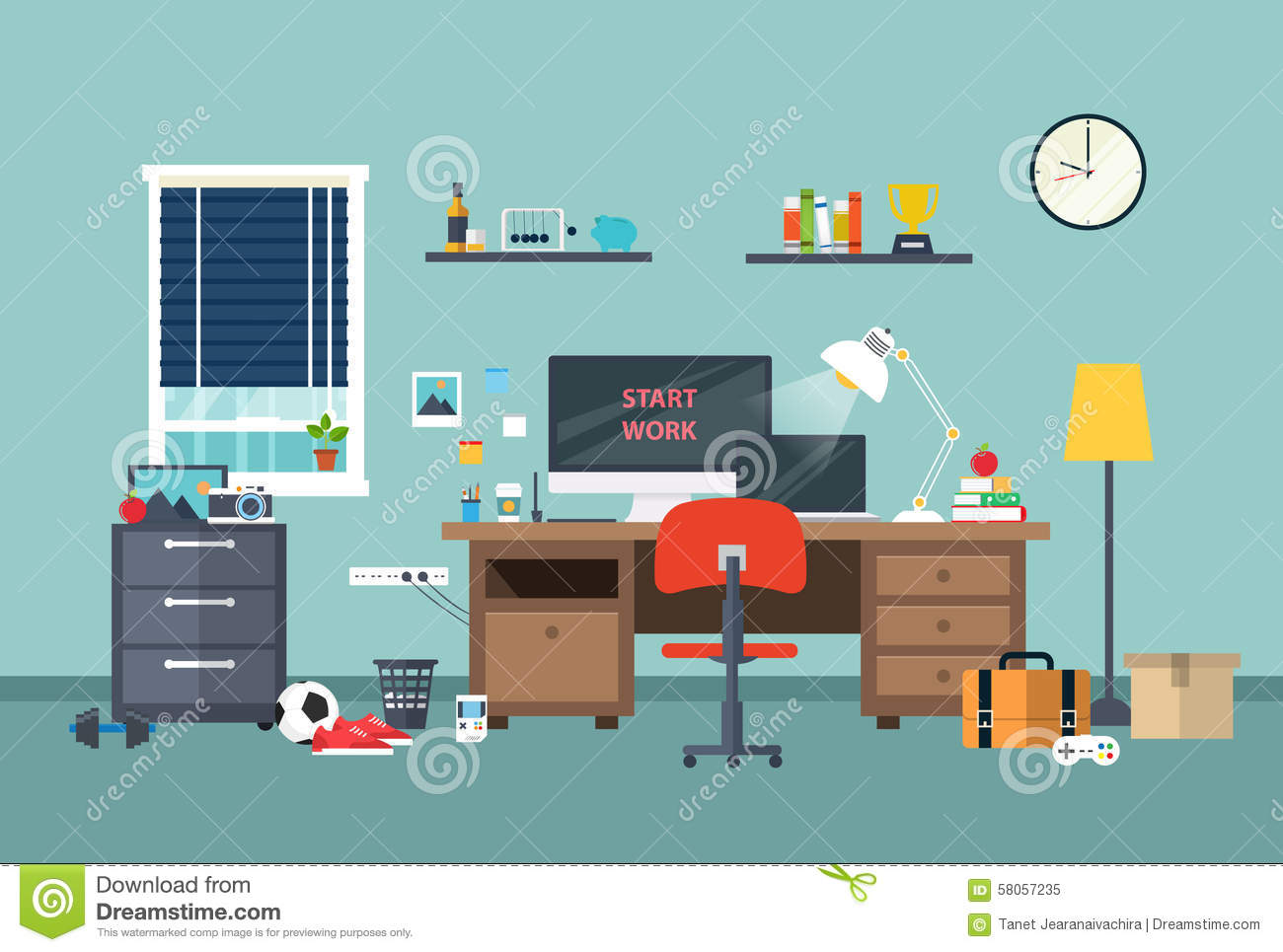 designer workspace in the work room stock vector. Black Bedroom Furniture Sets. Home Design Ideas