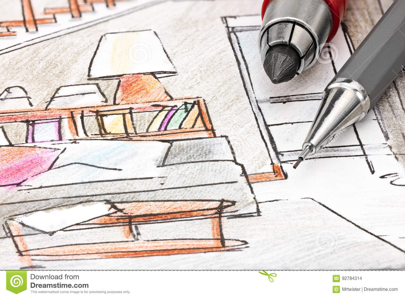 Designers drawing tools on colored draft sketch of living for Interior design drawing tools