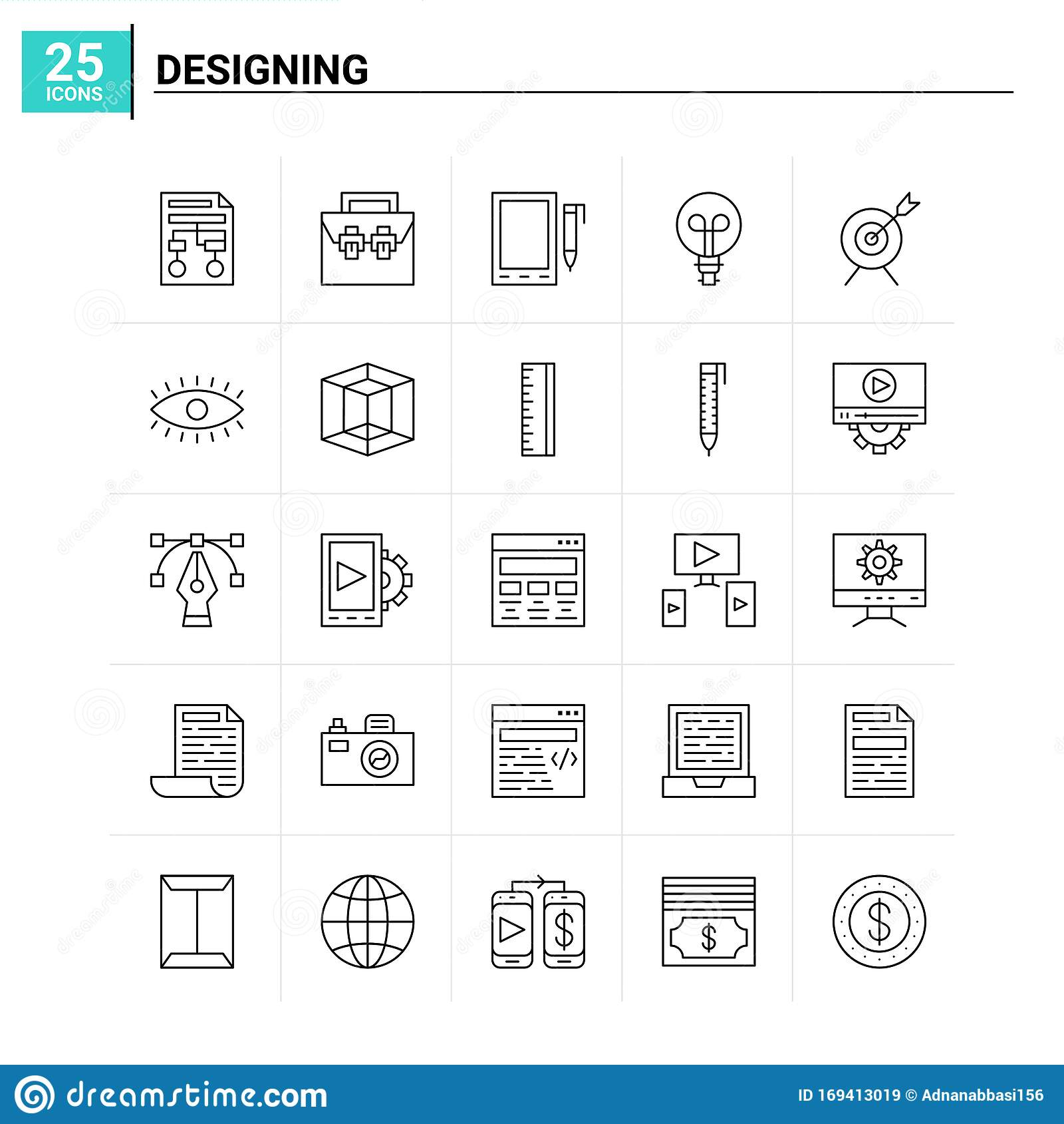 25 Designing Icon Set Vector Background Stock Vector Illustration Of Internet Abstract 169413019