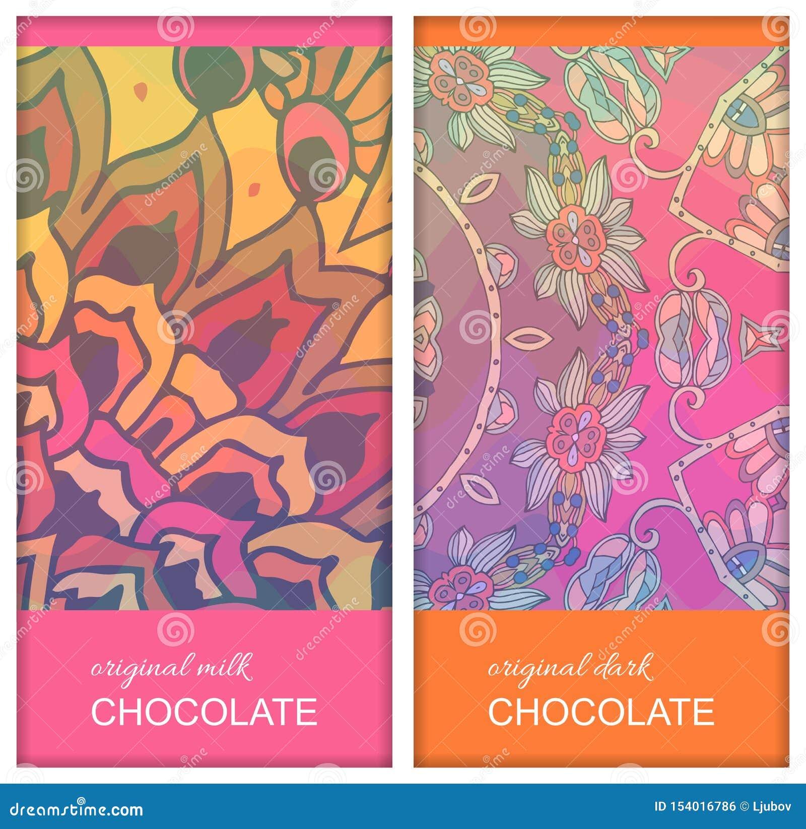 Designs d emballage de barre de chocolat avec l ornement floral ethnique Belle collection Calibre de empaquetage editable facile