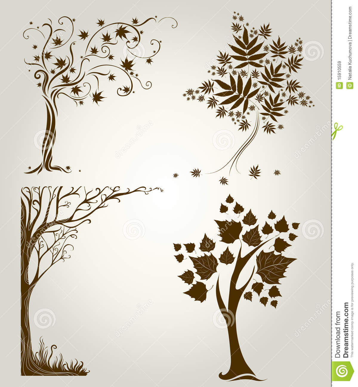 Designs With Decorative Tree From Leafs Stock Vector