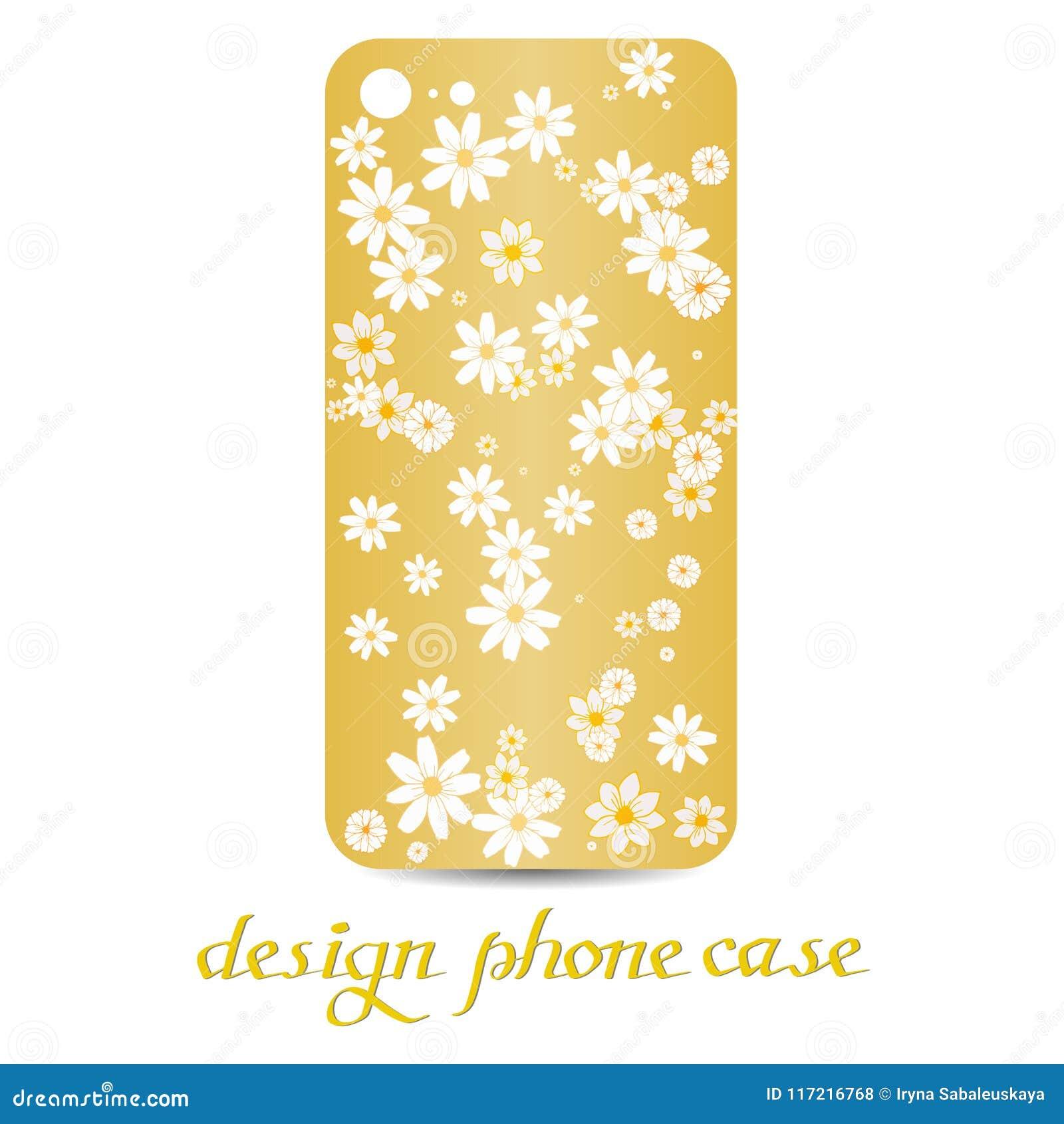 Designtelefonfall Dekorerade telefonfall är blom- dekorativ elementtappning